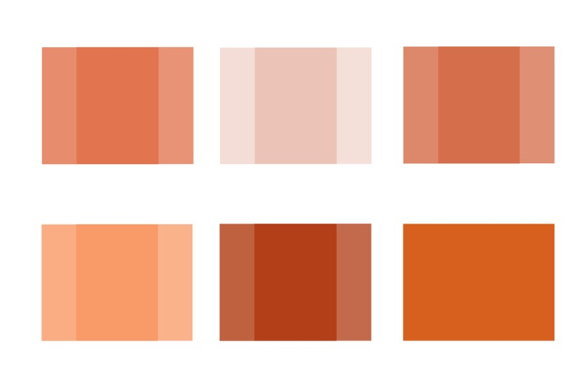 An abstract image showing six squares of varying shades of red.